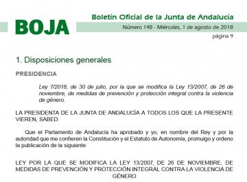 Reforma de la ley de violencia de género de Andalucía